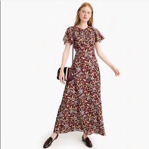 NWT J. Crew Flutter Sleeve Floral Bird Print Dress